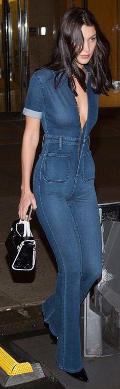 Who made Bella Hadid's blue denim overalls?