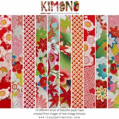 Kimono Paper Tape HOT colours reds pinks multis by lucypatterson