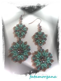My 1-2 earrings. My pattern. Superduo, Rocaille and Czech Briolette. Turquoise and Bronze.  2014. Giuliana Verdelli Design.