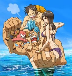 Franky carrying Luffy, Robin and Chopper in the water.. Becos' ya know, they cant swim. And let's not get started on how Brook whining about not getting a ride.
