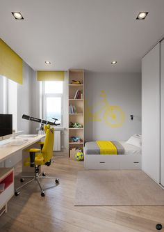 Residential Complex A. on Behance Children's room visualization in yellow-grey colors Designer: Kirill Golovlev Visualization: Terodesign Style: minimalism Location: Mosсow, Russia Soft: сoronarenderer, photoshop Yellow Floor Lamps, Yellow Desk, Modern Bedroom Decor, Teenage Room, Bedroom Flooring, Kids Room Design, Minimalist Bedroom, Boy Room, Kids Bedroom