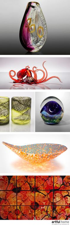 Beautify your home with artist-made treasures that capture the dance of color and light like nothing else, from striking vessels to elegant sculptures.