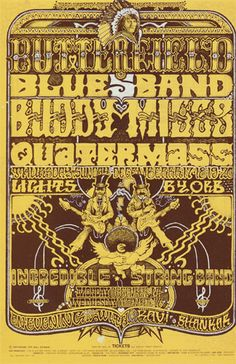 Original Vintage Bill Graham BG # Poster by Orr for Butterfield Blues Band, Buddy Miles, Quatermass, Incredible String Band, Ravi Shankar at Fillmore West Vintage Rock, Vintage Music, Vintage Ads, Vintage Style, Rock Posters, Band Posters, Event Posters, Norman Rockwell, Monet