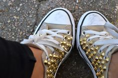 tan converse with gold studs