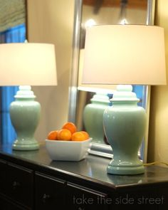 DIY Painted Lamp: Krylon Catalina Mist spray paint + a clear glossy spray top coat. Spray Paint Lamps, Lamp, Diy Outdoor Lighting, Diy Design, Home Decor, Lamp Makeover, Furniture Rehab, Painting Lamps, Outdoor Lighting Design