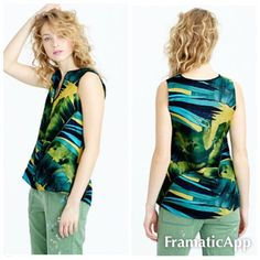 J.Crew Collection Jungle Silk Shell Pristine! $228 COLLECTION SILK TWILL SHELL IN JUNGLE $228.00vsize 6. Mint!  This silk twill top has a flattering, feminine silhouette and a vibrant digital print (the digital technique lets you achieve a wider range of colors and a sharper quality than traditional methods). It comes from an Italian textile house famous for its one-of-a-kind designs, and we think it's proof that some pretty great things come from Italy: gelato, the Mona Lisa and now this…