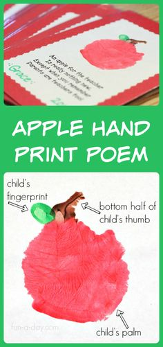 Apple hand print and poem for parent appreciation. Links to other parent appreciation ideas, too.