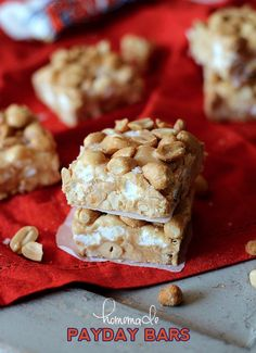 Homemade Payday Bars.  No bake and super easy!  Perfect for a crowd!