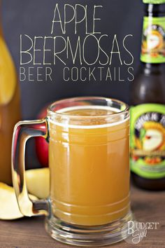 Well, this sounds fun and Fall-like.Apple Beermosas are a beer cocktail with a fall twist. Use your favorite non-hoppy fall beer to customize to your tastes. This is a great cocktail for football season! Beer Cocktail Recipes, Beer Recipes, Cocktail Drinks, Alcoholic Drinks, Beverages, Drink Recipes, Punch Recipes, Fall Cocktails, Gourmet