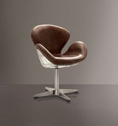 Brown leather and metal office chair on wheels Brothers room