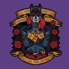 Dia de los Muertos becomes Día del Murciélago Muerto with the Batgirl Day of the Dead Heroine T-Shirt, which is probably a holiday the Joker enjoys a lot.  Batgirl gets the popular sugar skull treatment with this tee that features a superhero twist on the Day of the Dead, along with the iconic