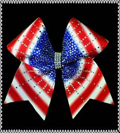 3 Texas Size Sublimated patriotic rhinestone burst cheer bow  Any part of this bow can be customized just send us a message!  Great as a team bow