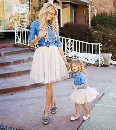 Chambray and tulle  Mommy And Me Outfits That Are A Total Win • Page 5 of 6 • BoredBug