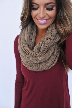 Cable Knit Infinity - Mocha - Dottie Couture Boutique