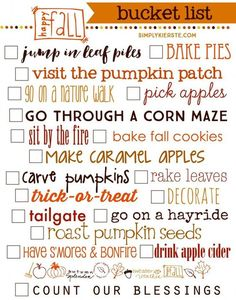 Fall Bucket List....19 super fun ways to celebrate autumn, and this fun FREE printable is perfect for your fall decor!   simplykierste.com