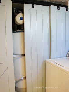 Bathroom Renovation: Custom Vanity Barn Doors to hide water heater and furnace Basement Makeover, Basement Renovations, Bathroom Renovations, Home Renovation, Basement Ideas, Hide Water Heater, Mechanical Room, Utility Closet, Deco Champetre