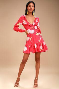 Ruff Girls Club Coral Red Floral Print Wrap Dress 2 Coral Dress, Girls Club, Davids Bridal, Flare Skirt, Bridal Style, Floral Prints, Print Wrap, Female Fashion, Billabong