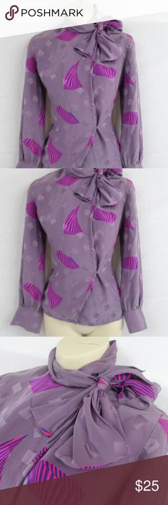 80s Purple Tie Neck Blouse 80s Does 40s Neiman Marcus Tag  Side Tie Neck Blouse-Pussy Bow-Silk-Hook Eye Side Closures  Size: Small Francesca of Damon for Starington Tops Blouses