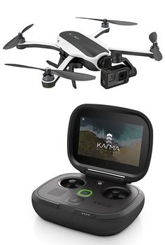 GoPro Karma Drone -- The long-awaited Karma Drone from GoPro was finally unveiled this week. It's a compact quad-copter with a portable, fold-up design. GoPro worked hard to simplify the controls, making it easy to fly with their game-style remote. The Ka Gopro Karma Drone, Drone App, Buy Drone, Drone For Sale, Drone Quadcopter, Leica, Drone Racer, Latest Drone, Drone Technology