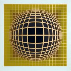 View Kinetic Composition, Yellow Sphere by Victor Vasarely on artnet. Browse more artworks Victor Vasarely from Cerbera Gallery. Victor Vasarely, Psychedelic Quotes, Light Grid, Hard Edge Painting, Pattern Photography, Retro Images, Kinetic Art, Sculptures For Sale, Op Art