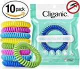 #3: Cliganic Natural Mosquito Repellent Bracelet Waterproof | 10 Pack | Bug & Insect Protection  Deet-Free Band Pest Control for Kids & Adults