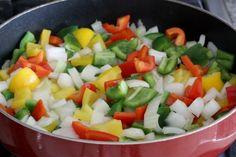 Saute the veggies for your Fajita Breakfast Casserole