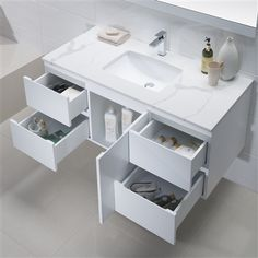 Enjoy an abundance of storage with this single sink floating vanity from Inolav. Choose from several quartz countertops.