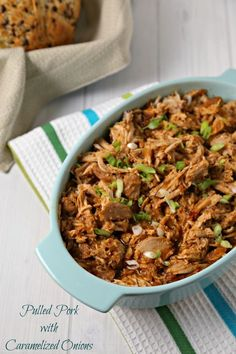 This recipe for Pulled Pork with Caramelized Onions from CookingInStilettos.com will be your new favorite. Richly caramelized onions and pork simmer in the slow cooker in a flavorful sauce and couldn't be easier to make. This is going to be your go-to pulled pork recipe   @CookInStilettos