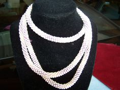 Vintage Handmade Crochet Pearl Bead Extra Long Necklace White Beads Red Pink Thread by TheClassicJewelryBox on Etsy