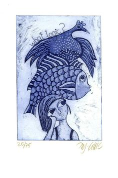 etching What Logic blue fish bird by mariannjohansenellis on Etsy