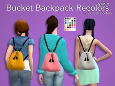 Bucket Backpack Recolors by Tukete.