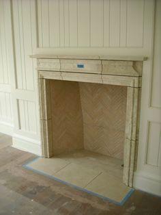 Limestone & Boxwoods - Perfect English - Benecki Fine Homes - den, stone mantel