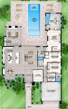 Main Floor for House Plan Modern House Floor Plans, Pool House Plans, Florida House Plans, Sims House Plans, Home Design Floor Plans, House Layout Plans, Best House Plans, Dream House Plans, House Layouts