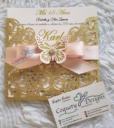 # Quinceanera decorations Really beautiful blush and gold butterfly Butterfly Invitations, Quince Invitations, Gold Invitations, Sweet 16 Invitations, Invitation Cards, Quince Themes, Quince Decorations, Quince Ideas, Mint Quinceanera Dresses