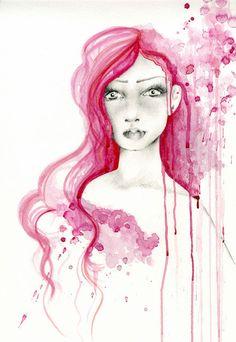 Watercolor Painting OOAK Fashion Illustration by ABitofWhimsyArt, $800.00