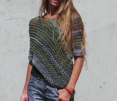 green grey poncho / loose knit poncho by ileaiye on Etsy