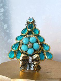 Christmas Tree Pin Brooch Turquoise Cabochon Open Back Aqua Rhinestone Laheir | eBay