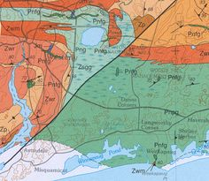 Here's a small sample of a real geologic map. You can see the basic things discussed earlier—the shorelines, roads, towns, buildings and borders—in gray. The contours are there too, in brown, plus the symbols for various water features in blue. All of that is on the map's base. The geologic part consists of the black lines, symbols and labels, plus the areas of color. The lines and the symbols condense a great deal of information that geologists have gathered through years of fieldwork.