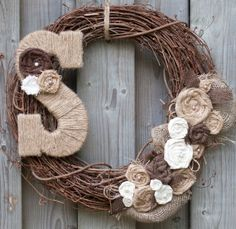 most popular rustic wreaths | Burlap Wreath with Pearls and Jute Monogram Letter on Wanelo
