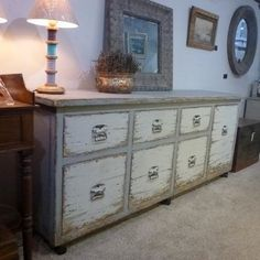 LARGE VINTAGE INDUSTRIAL STYLE RECLAIMED PAINTED PINE SIDEBOARD ON CASTORS