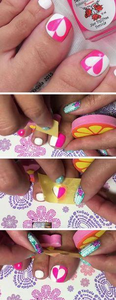 Pink n White Love Hearts | 18 DIY Toe Nail Designs for Summer Beach | Easy Toenail Art Designs for Beginners