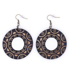 Bohemian Black Tan Wood Donut Statement Earrings by MoonRoseDesign