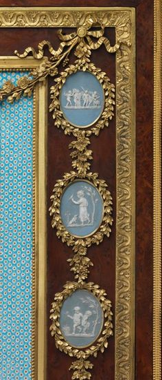 Detail of secretary on a stand Attributed to Adam Weisweiler  (1744–1820) Pottery cameos by Josiah Wedgwood and Sons