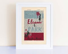Eleanor and Park by Rainbow Rowell Print on an antique page, home decor gift, book cover art