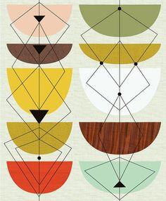 mid-century modern pattern, geometric