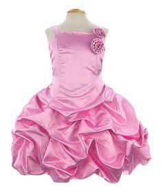 Pink Rosette Pick-Up Dress - Toddler & Girls by Growing Up #zulily #zulilyfinds