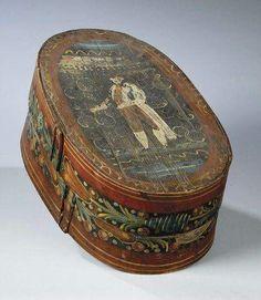 "BRIDAL BOX, Sweden, folk art, 19th century -- BRUDBURK, Swedish Brides ""Tine"" box"