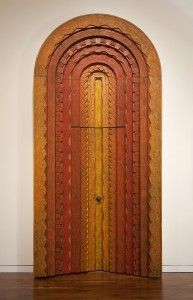 """Phillip Lloyd Powell (1919-2008), Door and Surround, ca. 1967, stacked carved softwoods, polychromed, H. 11'10"""" x W. 5'6 1/2"""" x D. 1'6"""" inches, James A. Michener Art Museum. Purchased with funds provided by Syd and Sharon Martin"""