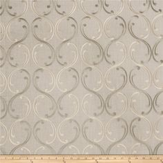 Fabricut Casafina Opal from @fabricdotcom  This beautiful heavyweight fabric features a scrollwork embroidery throughout. Perfect for draperies, swags, duvet covers, shams, toss pillows, and light upholstery projects.