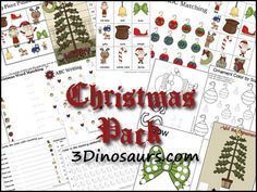 Free Christmas Pack - 115 pages of activities for ages 2 to 8 - 3Dinosaurs.com